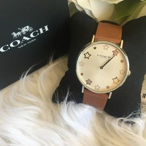 coach Perry Star Dial Leather Strap Analog Watch